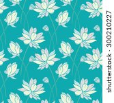 seamless pattern with waterlily.... | Shutterstock .eps vector #300210227