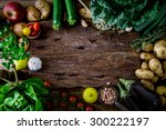 vegetables on wood. bio healthy ... | Shutterstock . vector #300222197