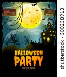 halloween party poster. hunted... | Shutterstock .eps vector #300238913