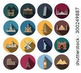 16 flat landmark icons | Shutterstock .eps vector #300249887