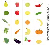 set of colorful  fruits and...   Shutterstock .eps vector #300256643