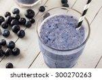 fresh blueberry smoothie in...   Shutterstock . vector #300270263