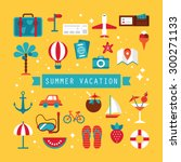flat icons design for summer... | Shutterstock .eps vector #300271133
