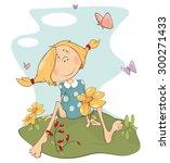 a girl on a field. cartoon | Shutterstock .eps vector #300271433