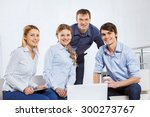 four co workers discussing... | Shutterstock . vector #300273767