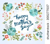 happy mother's day floral... | Shutterstock .eps vector #300277037