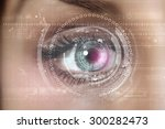 close up of woman's eye scanned ... | Shutterstock . vector #300282473