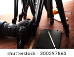 tripods and dslr camera. ready... | Shutterstock . vector #300297863