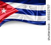 cuba flag of silk with... | Shutterstock . vector #300322757