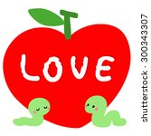 worm in love with red apple... | Shutterstock .eps vector #300343307