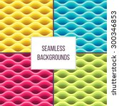 set of waves seamless pattern.... | Shutterstock .eps vector #300346853