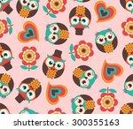 seamless cute cartoon owls... | Shutterstock .eps vector #300355163