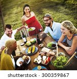 diverse people party... | Shutterstock . vector #300359867