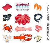 set of cartoon sea food   tuna  ... | Shutterstock .eps vector #300377447