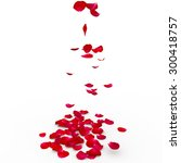 Stock photo red rose petals are flying to the floor isolated background d render 300418757