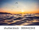 Sunrise Light Shining On Ocean...