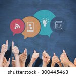 group of hands giving thumbs up ... | Shutterstock . vector #300445463