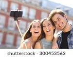 Group Of Three Tourist Friends...