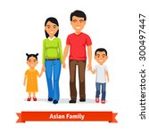 asian family walking together...   Shutterstock .eps vector #300497447