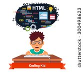 kid is learning web design and... | Shutterstock .eps vector #300498623