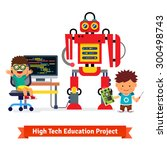 kids are making and programming ... | Shutterstock .eps vector #300498743