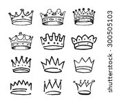 set of black hand drawn crowns. ... | Shutterstock .eps vector #300505103