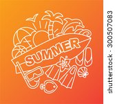 summer logo. linear style....   Shutterstock .eps vector #300507083