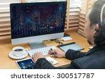 rear view of a businessman... | Shutterstock . vector #300517787