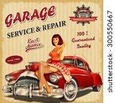 vintage garage retro poster | Shutterstock .eps vector #300550667