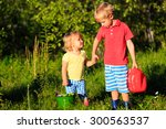 little boy and girl working in... | Shutterstock . vector #300563537