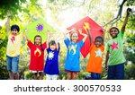children flying kite playful... | Shutterstock . vector #300570533