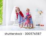 two children play indoors. kids ... | Shutterstock . vector #300576587