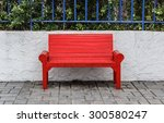 red park bench in the park. | Shutterstock . vector #300580247
