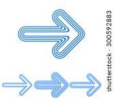 blue line arrow logo design set