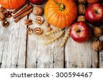 Wood Background With Pumpkin ...