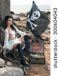 Beautiful Pirate Woman Sitting...