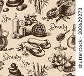 spa vintage hand drawn sketch... | Shutterstock .eps vector #300629273