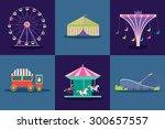 amusement park vector set.  | Shutterstock .eps vector #300657557