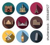 9 flat landmark icons   Shutterstock .eps vector #300668927