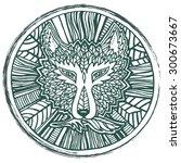 wolf head tattoo sketch. native ...   Shutterstock .eps vector #300673667