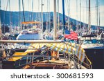 american flag waving from a... | Shutterstock . vector #300681593