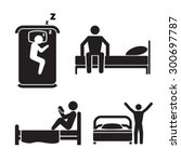 Person In Bed Icons. Hotel...