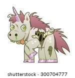 crazy undead unicorn with the... | Shutterstock .eps vector #300704777