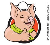 pig chef gives thumb up | Shutterstock .eps vector #300739187