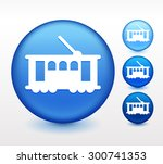 tramp on blue round button | Shutterstock .eps vector #300741353