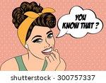 pop art cute retro woman in...   Shutterstock .eps vector #300757337
