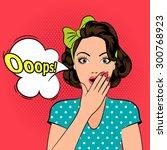 ooops. scared or surprised... | Shutterstock .eps vector #300768923