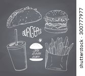 sketched fast food set with... | Shutterstock .eps vector #300777977