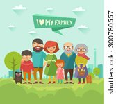 happy stylish family posing... | Shutterstock .eps vector #300780557