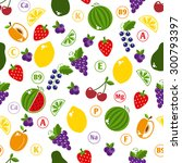 bright fruits seamless pattern... | Shutterstock .eps vector #300793397